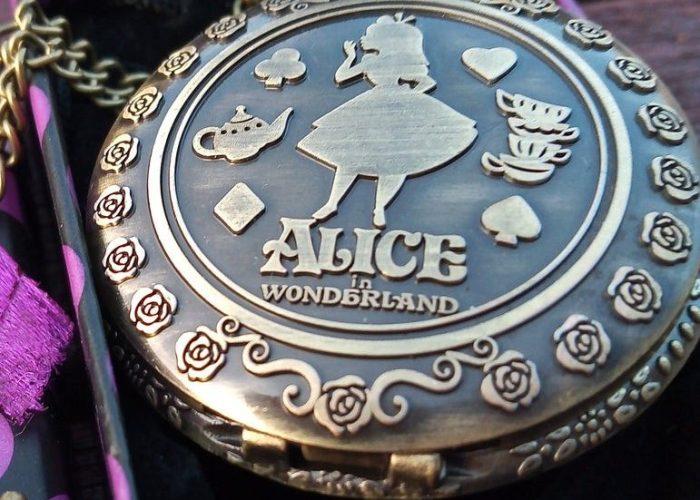 "Alice in Wonderland ""Antique Victorian Style"" Pocket Watch And Chain."