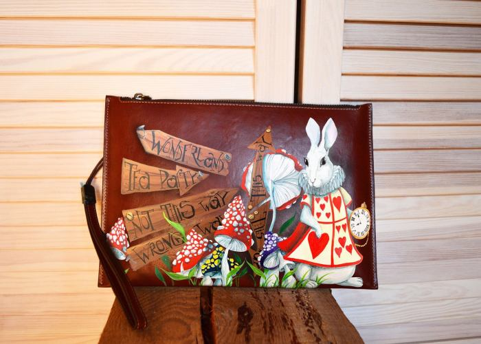 White Rabit Alice In Wonderland Clutch Bag/Purse.