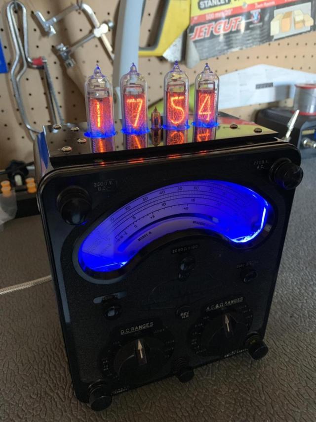 Steampunk Nixie Tube Clock On An AVO Meter.