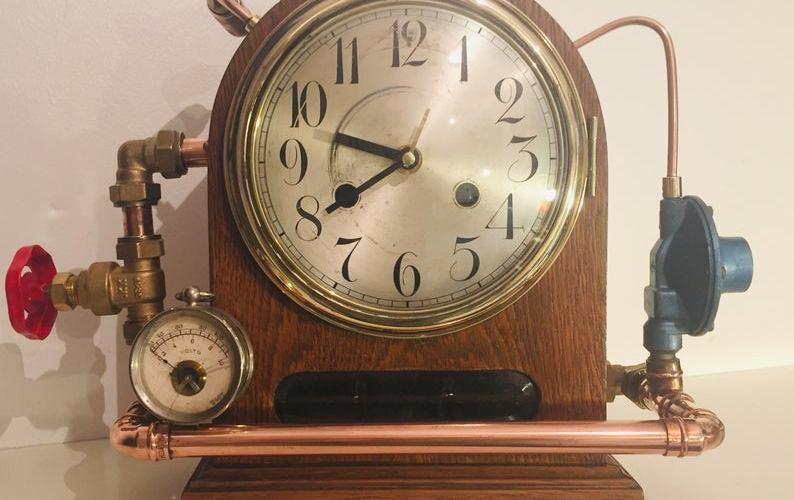 Industrial Steampunk Antique Victorian Mantel Clock.