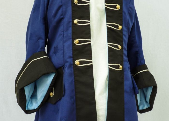 Ladies Royal Blue Steampunk Pirate Coat. Created by Luluna Clothing.