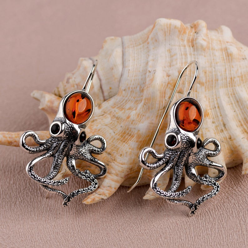 Sterling/925 Silver Steampunk Octopus Earrings With Amber. All photos credited to Henryka Jewellery.