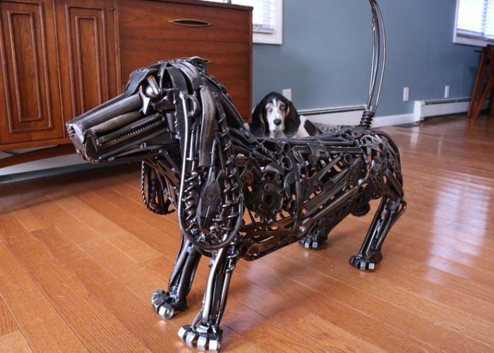"Bassett Hound Metal Sculpture ""Howard The Dog"". by Michael Vivona."