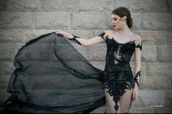 Black Lace Gothic Steampunk Wedding Dress. Created by Dresses Dioma.