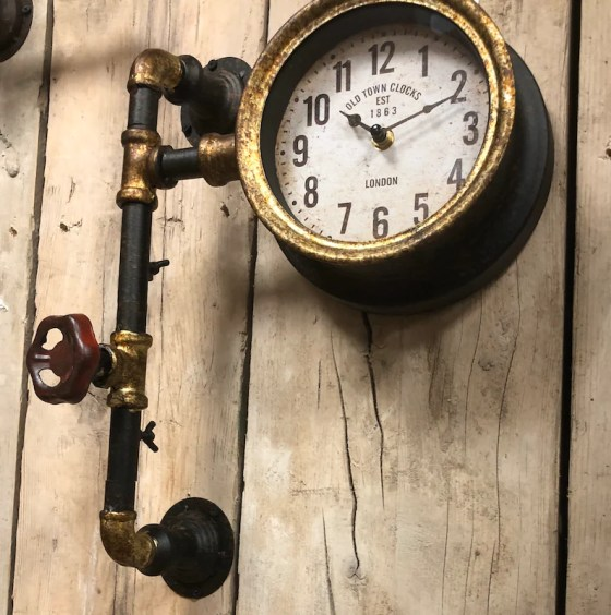 Steampunk Industrial Pipe Wall Clock. Created by Carmen By James.