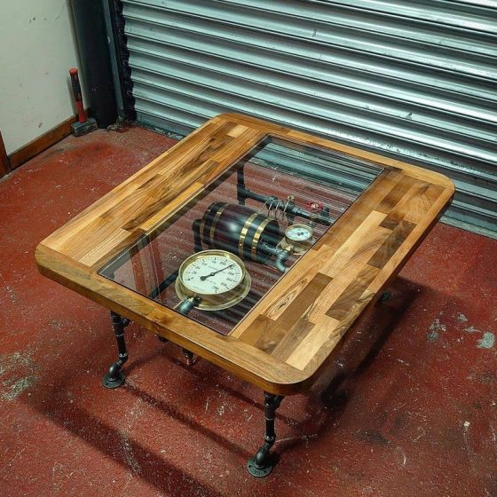 Industrial Steampunk Coffee Table. Created by TheLittleVintageLamp.