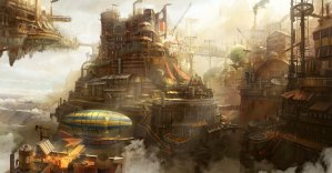 Steampunk vision of a city