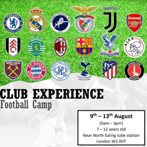 Club Experience Football Camp –  Group 3 (9-10yrs old)