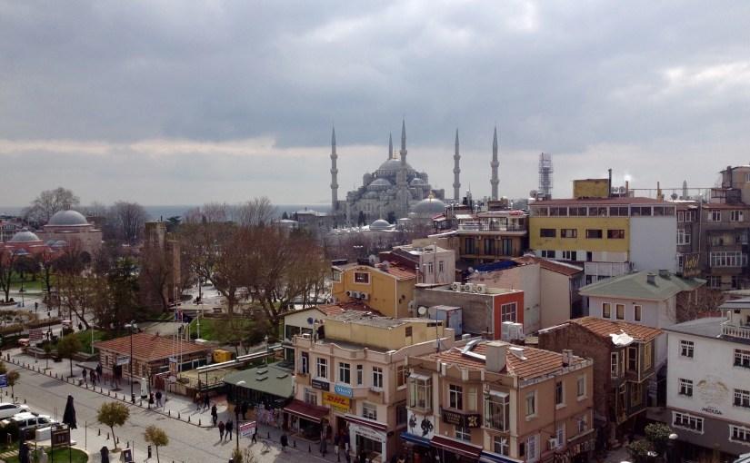 Udsigt over Sultanahmet Istanbul, Tyrkiet med Den Blå Moske.