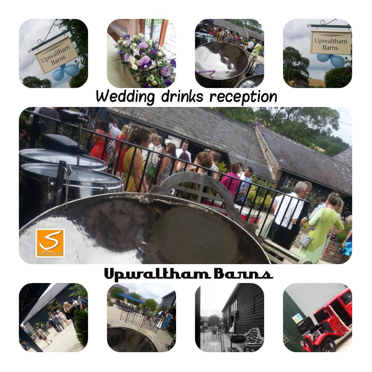 Upwalthams Barn Steelasophical wedding steel band Ceremony drinks reception