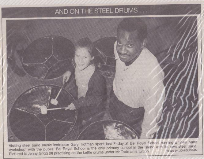 Bel Royal School, Jersey steelpan steelband Gary Trotman wokshops