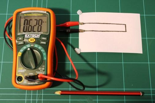 Initial measurement. A baseline resistance of 629kohm