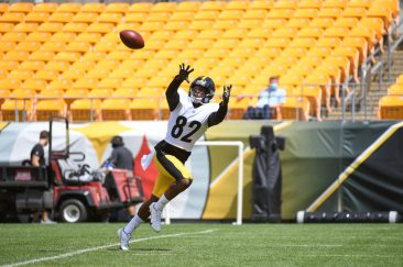 Pittsburgh Steelers wide receiver Amara Darboh (82) trains at Heinz Field during the Steelers 2020 Training Camp, Tuesday, Aug. 18, 2020 in Pittsburgh, PA. (Karl Roser / Pittsburgh Steelers)