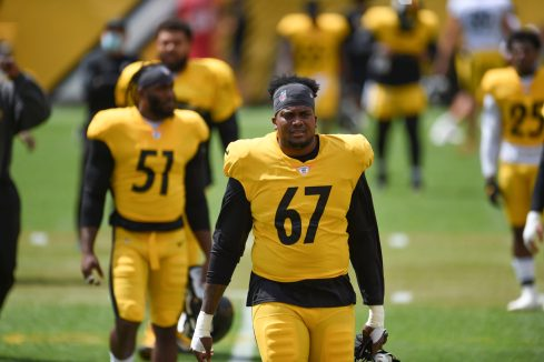 Pittsburgh Steelers defensive end Calvin Taylor (67) trains at Heinz Field during the Steelers 2020 Training Camp, Monday, Aug. 24, 2020 in Pittsburgh, PA. (Caitlyn Epes / Pittsburgh Steelers)