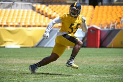 Pittsburgh Steelers linebacker Devin Bush (55) trains at Heinz Field during the Steelers 2020 Training Camp, Wednesday, Aug. 19, 2020 in Pittsburgh, PA. (Karl Roser / Pittsburgh Steelers)