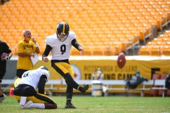 Pittsburgh Steelers kicker Chris Boswell (9) trains at Heinz Field during the Steelers 2020 Training Camp, Friday, Aug. 21, 2020 in Pittsburgh, PA. (Karl Roser / Pittsburgh Steelers)
