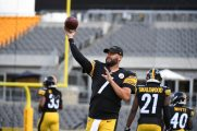 Pittsburgh Steelers quarterback Ben Roethlisberger (7) trains at Heinz Field during the Steelers 2020 Training Camp, Saturday, Aug. 22, 2020 in Pittsburgh, PA. (Karl Roser / Pittsburgh Steelers)