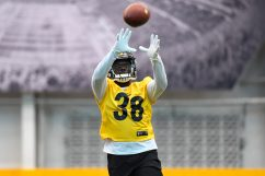Pittsburgh Steelers cornerback Trajan Bandy (38) trains at the UPMC Rooney Sports Complex during the Steelers 2020 Training Camp, Tuesday, Aug. 25, 2020 in Pittsburgh, PA. (Karl Roser / Pittsburgh Steelers)