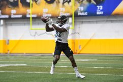 Pittsburgh Steelers wide receiver Amara Darboh (82) trains at the UPMC Rooney Sports Complex during the Steelers 2020 Training Camp, Tuesday, Aug. 25, 2020 in Pittsburgh, PA. (Karl Roser / Pittsburgh Steelers)