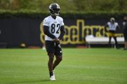Pittsburgh Steelers wide receiver Amara Darboh (82) practices at the UPMC Rooney Sports Complex preparing for a Week 1 matchup against the New York Giants, Saturday, Sept. 12, 2020 in Pittsburgh, PA. (Caitlyn Epes / Pittsburgh Steelers)