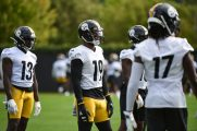 Pittsburgh Steelers wide receiver JuJu Smith-Schuster (19) practices at the UPMC Rooney Sports Complex preparing for a Week 1 matchup against the New York Giants, Saturday, Sept. 12, 2020 in Pittsburgh, PA. (Caitlyn Epes / Pittsburgh Steelers)