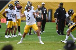 Pittsburgh Steelers quarterback Paxton Lynch (5) trains at Heinz Field during the Steelers 2020 Training Camp, Wednesday, Sept. 2, 2020 in Pittsburgh, PA. (Caitlyn Epes / Pittsburgh Steelers)