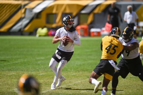 Pittsburgh Steelers quarterback Paxton Lynch (5) trains at Heinz Field during the Steelers 2020 Training Camp, Friday, Sept. 4, 2020 in Pittsburgh, PA. (Caitlyn Epes / Pittsburgh Steelers)