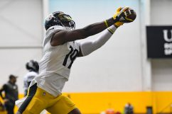 Pittsburgh Steelers wide receiver JuJu Smith-Schuster (19) trains at the UPMC Rooney Sports Complex during the Steelers 2020 Training Camp, Thursday, Sept. 3, 2020 in Pittsburgh, PA. (Karl Roser / Pittsburgh Steelers)
