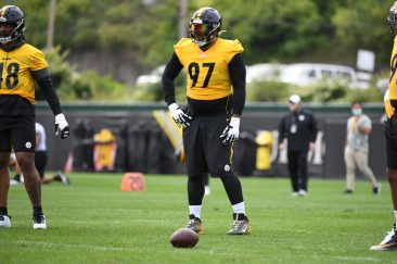 Pittsburgh Steelers defensive tackle Cameron Heyward (97) practices at the UPMC Rooney Sports Complex preparing for a Week 1 matchup against the New York Giants, Monday, Sept. 7, 2020 in Pittsburgh, PA. (Karl Roser / Pittsburgh Steelers)