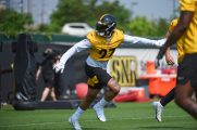 Pittsburgh Steelers linebacker Marcus Allen (27) participates in the Organized Team Activities (OTAs), Tuesday May 25, 2021 at the UPMC Rooney Sports Complex. (Caitlyn Epes / Pittsburgh Steelers)