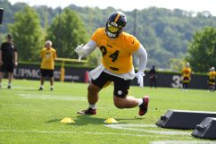 Pittsburgh Steelers nose tackle Tyson Alualu (94) participates in the Organized Team Activities (OTAs), Tuesday May 25, 2021 at the UPMC Rooney Sports Complex. (Karl Roser / Pittsburgh Steelers)