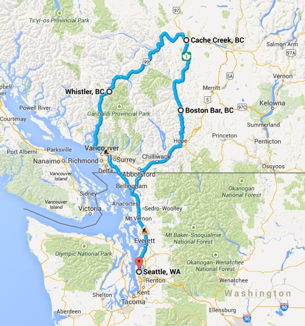 Cache Creek Loop route