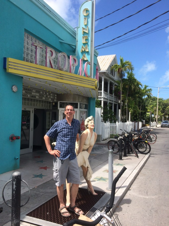 Posing with Marilyn outside the Tropic Cinema