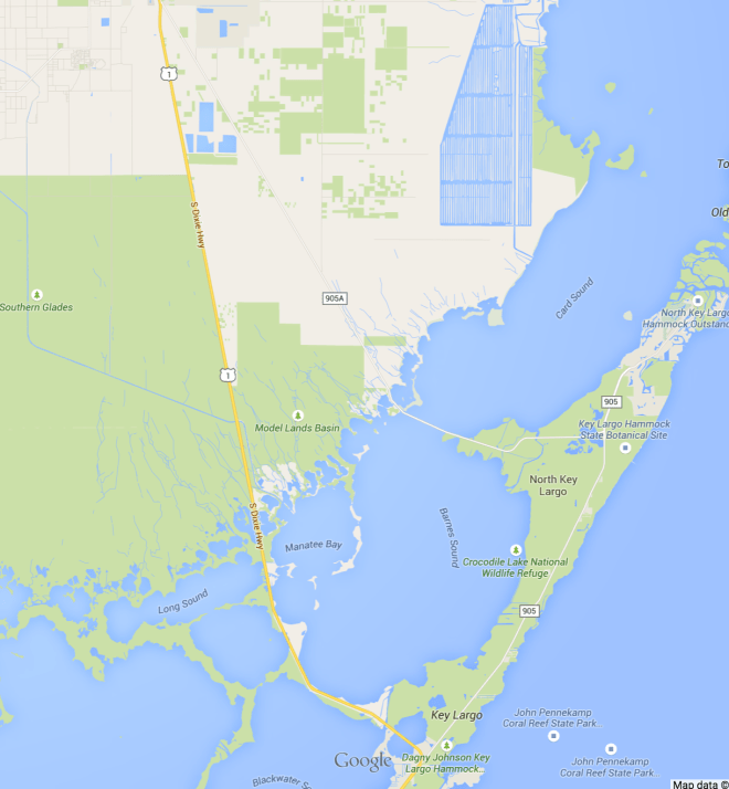Routes from Key Largo to the mainland