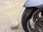 Front wheel damage from the rock and the rock I hit