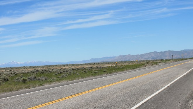 Riding through the  Snake River Plateau on Hwy 20