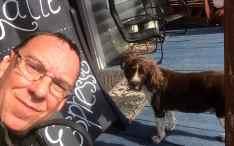 Sharing an ice cream break with Bentley