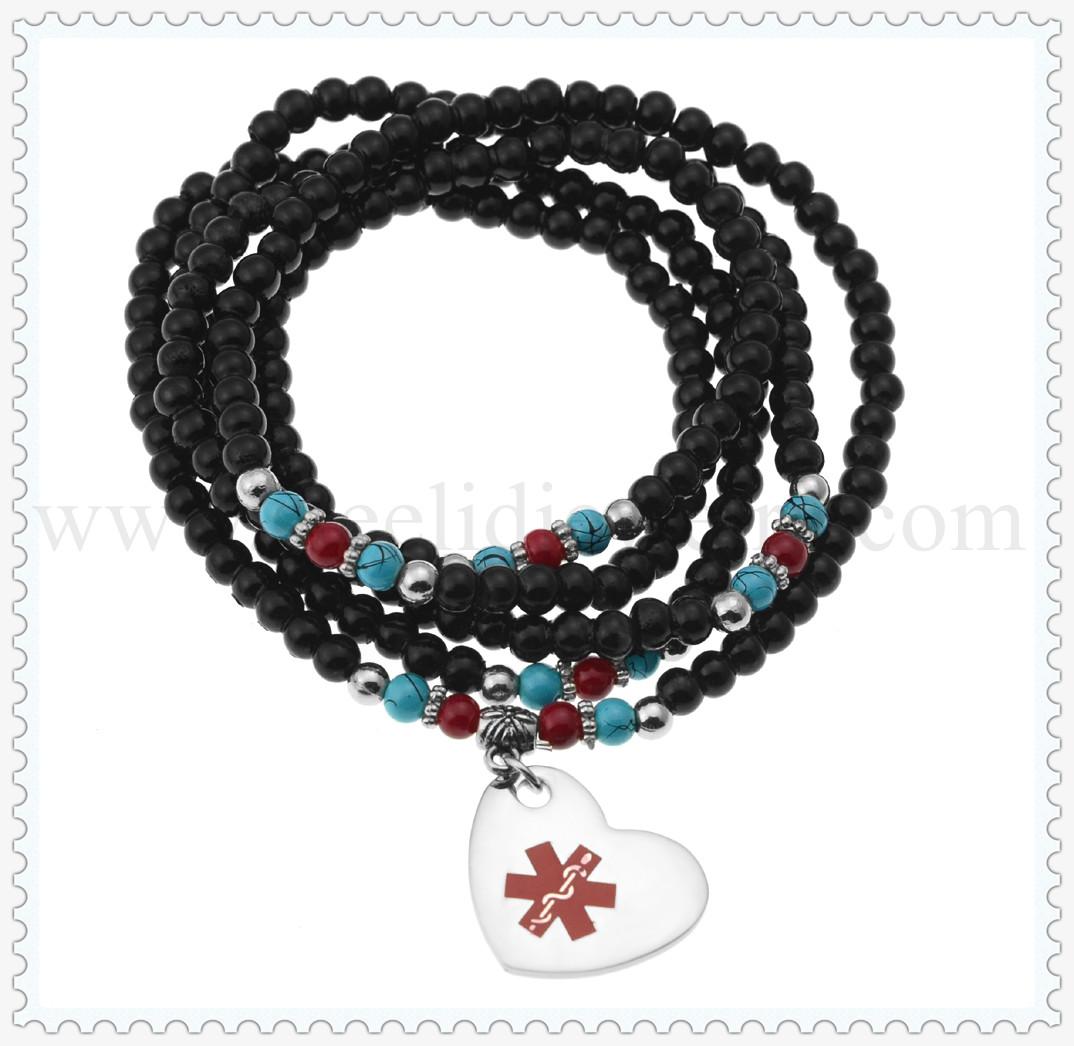 Black Beaded Medical Id Bracelets Md
