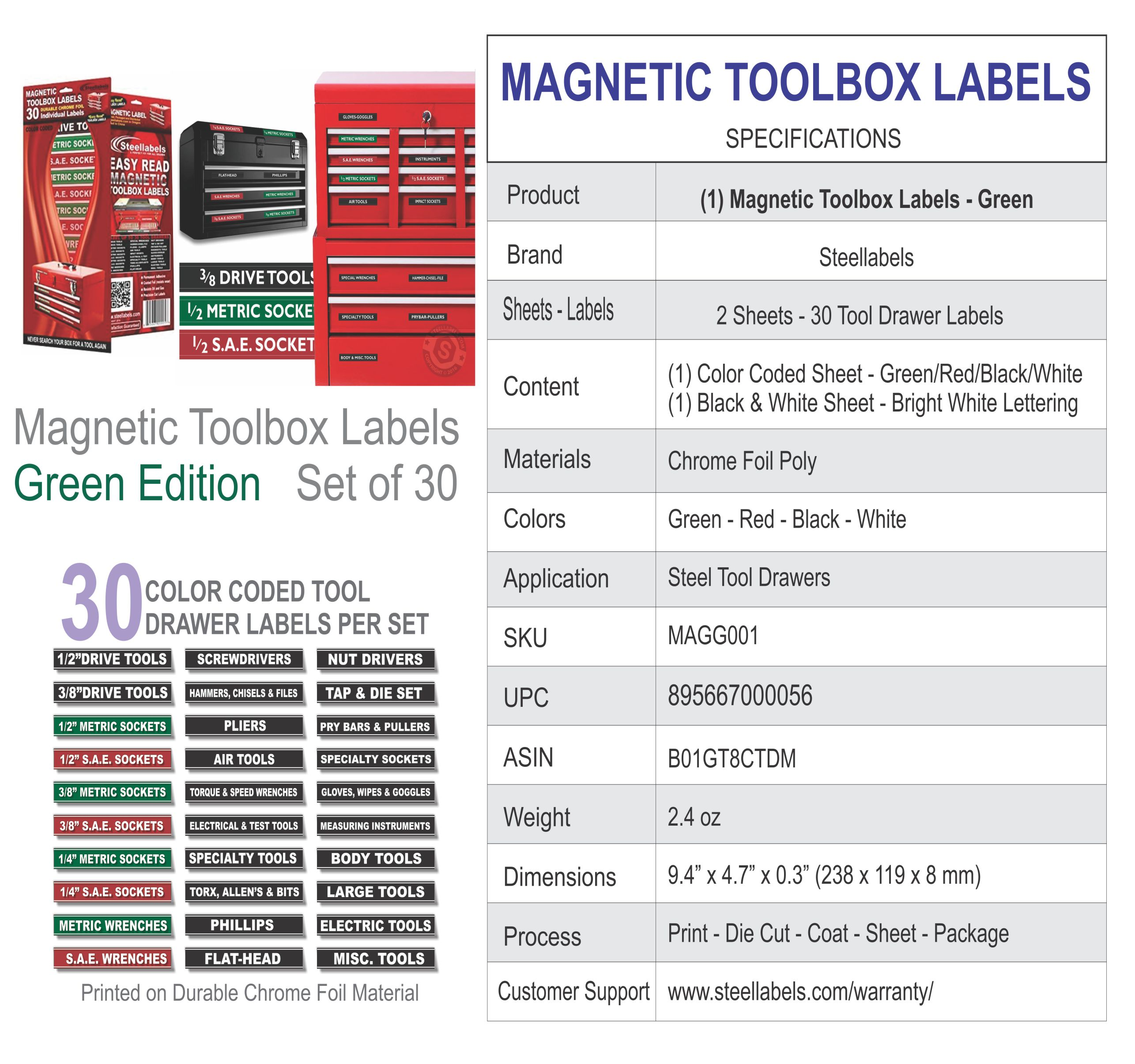 Adjustable Magnetic Toolbox Labels For All Tool Chests