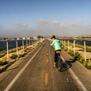 Jamie biking in Marina Del Rey