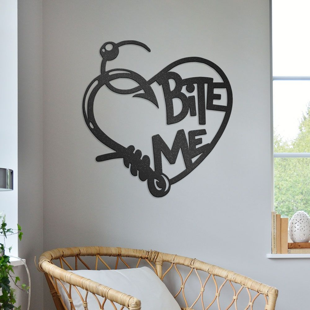 Download Love For Fishing Sign Bite Me With Fishing Hook Line Heart Shaped Metal Wall Art Steelsigns Ca