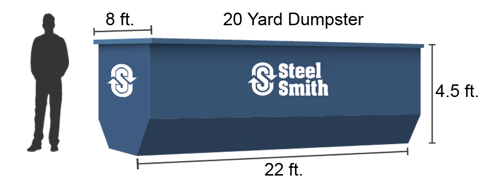A 20 yard dumpster illustration showing the comparison to a man standing beside it.