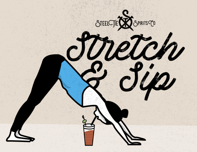 graphic of woman doing yoga while drinking a bloody mary