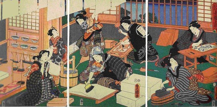 800px-Utagawa_Kunisada_-_Printmaking_triptych.jpg