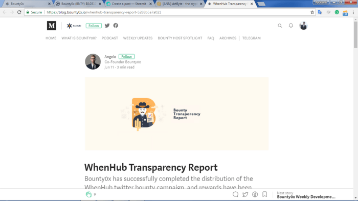 Bounty0x Transparency Report