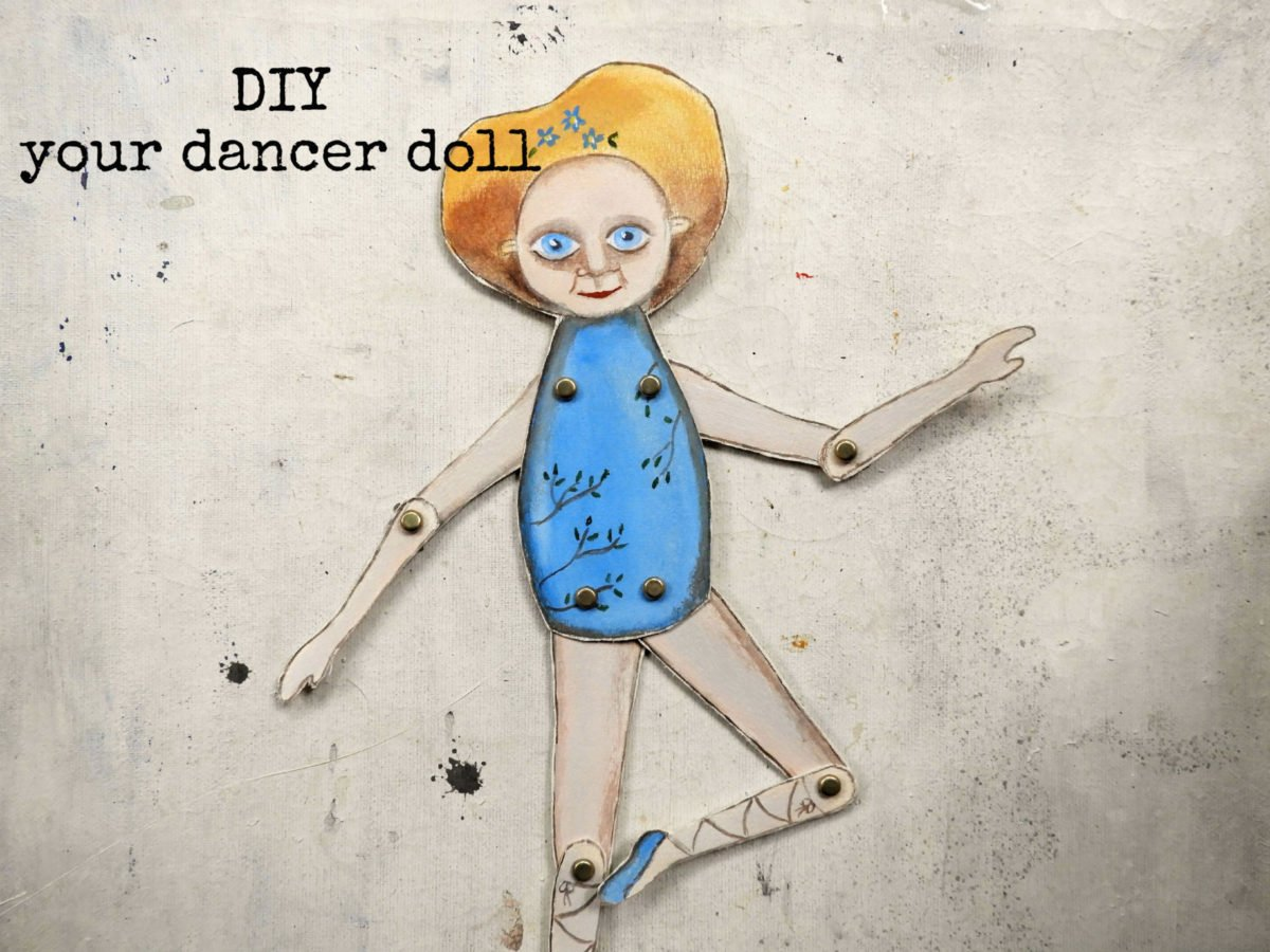 The Blue Dancer paper toy INSTANT Download illustration Diy – articulated paper doll – printable decoration pdf – for kids
