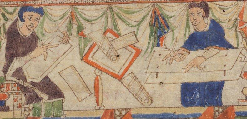 monjes trabajando en un scriptorium