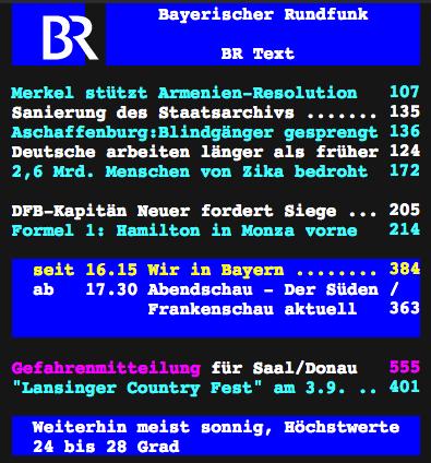 Die Startseite des BR-Videotext-Angebots