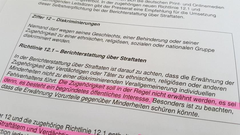 """Im Pressekodex reicht jetzt """"öffentliches Interesse"""", um die Nationalität eines Tatverdächtigen zu nennen. (Bild: Stefan Fries)"""