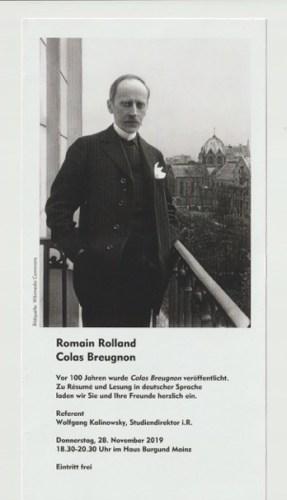 "Vortrag in deutscher Sprache über Romain Rollands berühmten Roman ""Colas Breugnon"" (1919)"